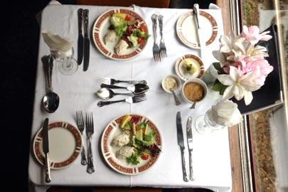 fine dining on a steam train