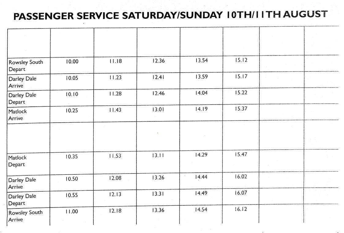 passenger timetable